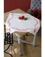 Borduurpakket tafelkleed met aida rand Roodborstje met rode besjes met telpatroon vervaco pn-0157099