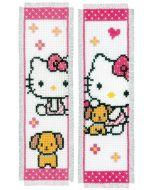 Borduurpakket 2 boekenleggers Hello Kitty met hondje van vervaco pn-0157572