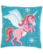 Vervaco borduurpakket kruissteekkussen roze eenhoorn pn-0166237