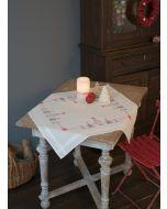 Borduurpakket voorbedrukt tafelkleed Kerstbomen in rood/grijs Vervaco PN-0166603