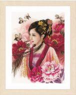 Borduurpakket Lanarte Asian lady in pink met telpatroon  PN-0170199
