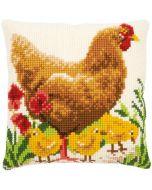 Vervaco borduurpakket kruissteek kussen Kip met kuikentjes voorbedrukt pn-0172782