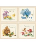 Borduurpakket Lanarte 4 borduurwerkjes van 4 seizoenen met telpatroon  Marjolein Bastin