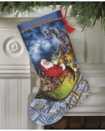 Borduurpakket dimensions  gold collection Kerstsok kerstman met slee- Santa's flight stocking  70-08923