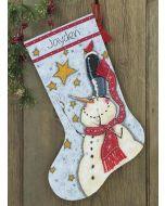 Borduurpakket Kerstsok tall hat snowman- sneeuwpop met hoge hoed dimensions  70.08924