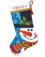 Voorbedrukt borduurpakket Kerstsok sneeuwman  Dimensions 70-09155