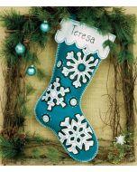 Vilten kerstsok sneeuwvlokken van Dimensions 72-08177