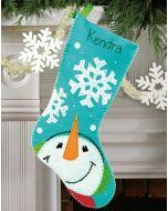 Vilten kerstsok sneeuwvlokken met sneeuwpop  van Dimensions 72-08189