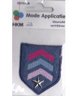 Applicatie jeans blauw met roze en blauwe strepen en een zilvere ster.