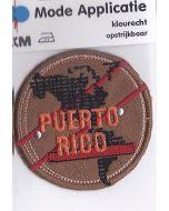 Bruine, ronde applicatie met tekst Puerto Rico applicatie