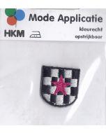 Zwart,wit patroon met roze ster applicatie.
