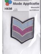Blauw, roze en grijs met glitter en zwarte rand applicatie