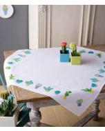 Bordurupakket tafelkleed met telpatroon cactussen om te borduren  vervaco pn-0155956