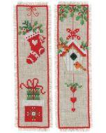 Vervaco borduurpakket 2 boekenleggers kerstmotiefjes borduren pn-0178766