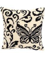 Vervaco borduurpakket borduurkussen vlinder in zwart/wit pn-0008739