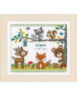 Vervaco borduurpakket geboortelap bosdieren 1 borduren voor een baby pn-0150179