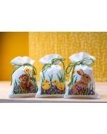 Vervaco borduurpakket kruidenzakje 3 st. konijnen met kuikentjes pn-0187096 borduren