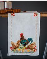 Vervaco borduurpakket tafelkleed haan en kippen borduren met telpatroon pn-0172772