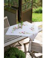 Vervaco borduurpakket tafelkleed pimpelmees met viooltjes pn-0148682 voorbedrukt borduren