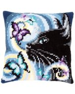 Vervaco kruissteek borduurkussen poes met vlinders borduren pn-0149061