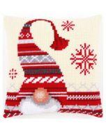 Voorbedrukt kruissteek borduurkussen kerstkabouter pn-0156877