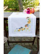 Vervaco tafelloper tuinvogels tussen bloesem borduren pn-0156121 voorbedrukt