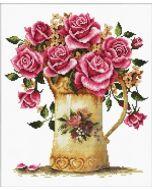 Voorbedrukt borduurpakket vaas met rozen op aida Needleart World