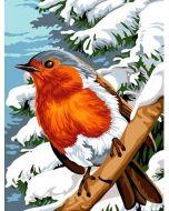 Voorbedrukt canvas roodborstje in de sneeuw om te borduren van Margot 153.1431