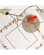 Voorbedrukt tafelkleed kerst vogels om te borduren 80x80cm Rico design 31218.52.22